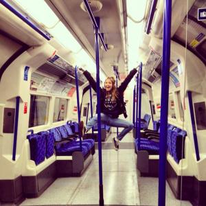 blond girl jumping