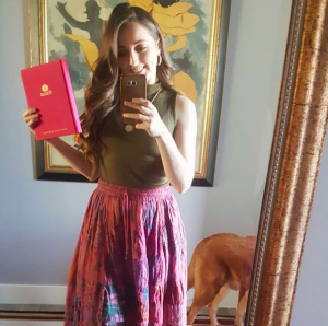 Girl with a book and a comfy outfit