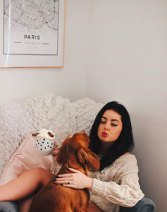 Girl with her puppy dog and a dog mug