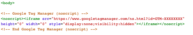 google tag manager into body html script