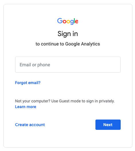 Google Analytics Sign In