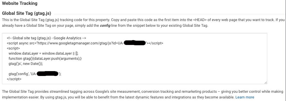 Google Analytics UA information tracking ID