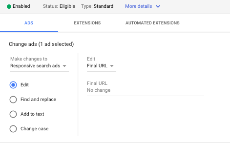 types of edits on google ads