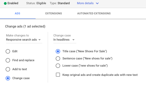 edit google ads search text ads