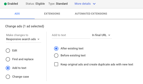 edit google ads text