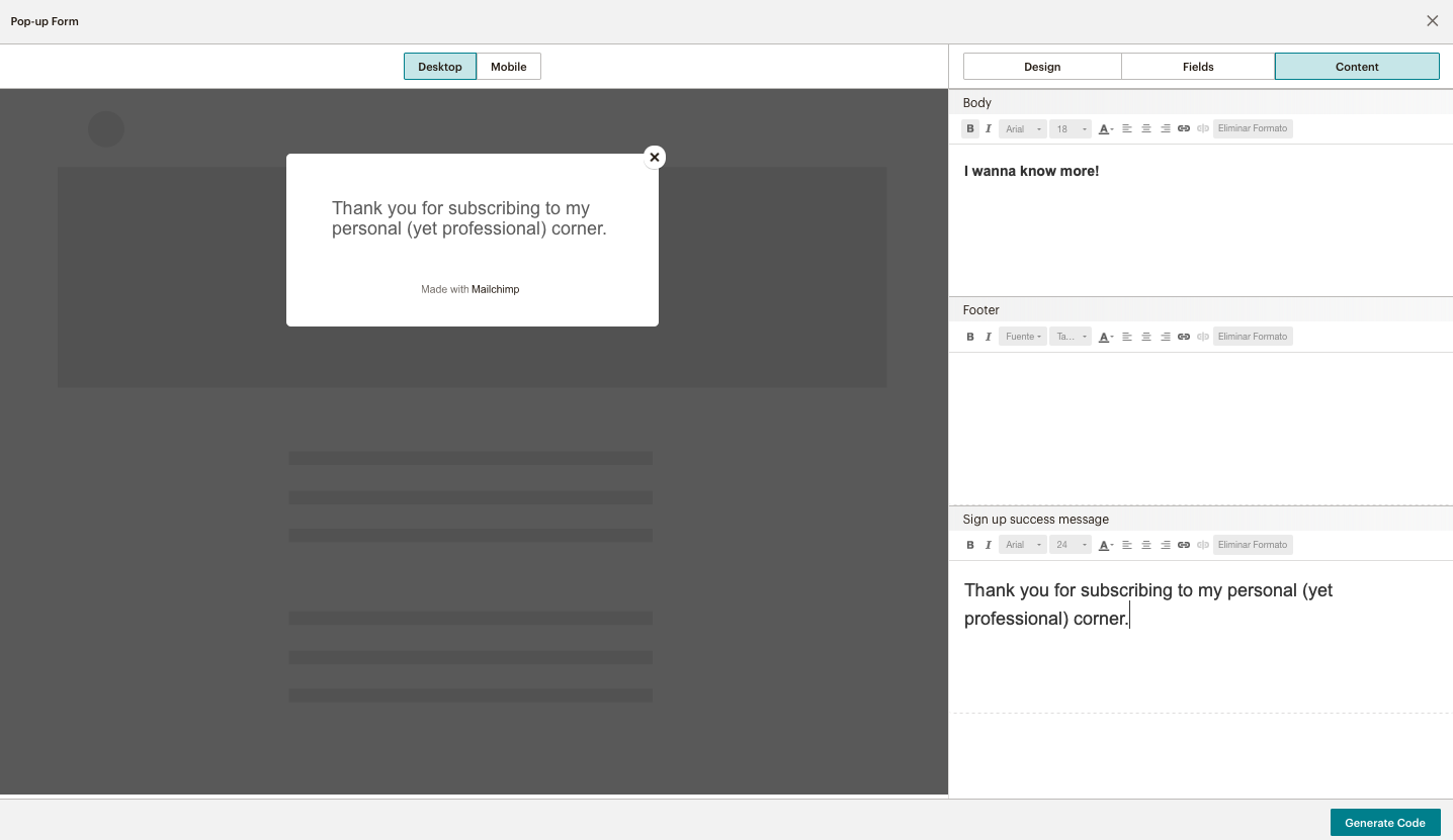 code and build a pop up on Mailchimp