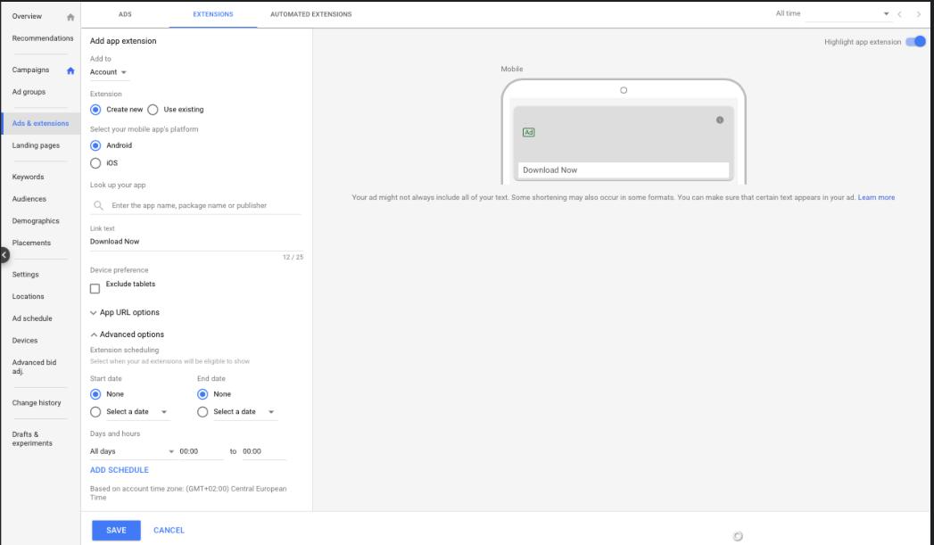 google ads app extension